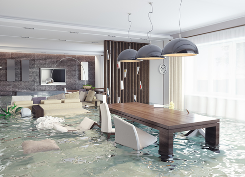 Modern apartment flooded with water