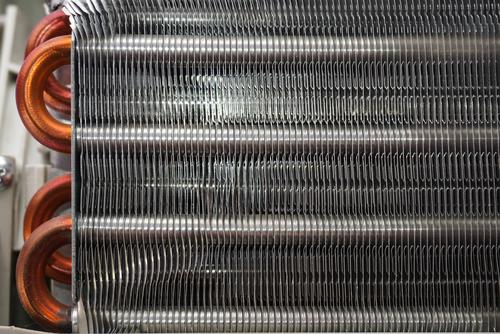 Closeup of HVAC heat exchanger